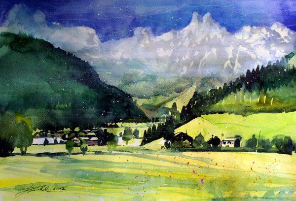 Salzburger Pongau, Werfenweng mit Blick zum Eiskogel  (Nr. 17178)