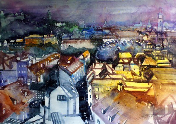Graz, Dachlandschaft mit Schlossberg in der Abenddämmerung (Nr. 17183)