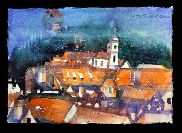 Graz, Dächer mit Blick zur Stiegenkirche St. Paul (Nr. 17187)