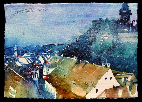 Graz, Blick vom Kastner & Öhler zum Uhrturm (Nr. 17188)