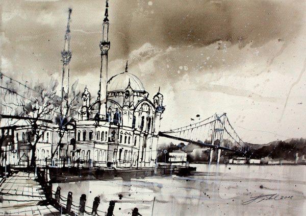 Türkei, Istanbul, Ortaköy Moschee am Bosporus (Nr. 18078)