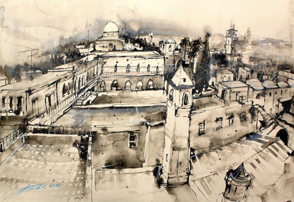 Israel, Jerusalem, Blick zum Felsendom  (Nr. 18081)
