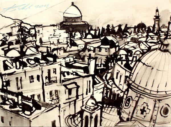 Israel, Jerusalem, Blick zum Felsendom (Nr. 18083)