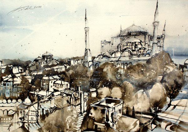 Türkei, Istanbul, Blick zur Hagia Sophia und Hagia Irene Moschee (Nr. 18090)