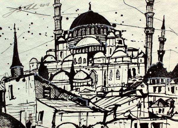 Türkei, Istanbul, Dächer mit Süleymaniye Moschee (Nr. 18092)