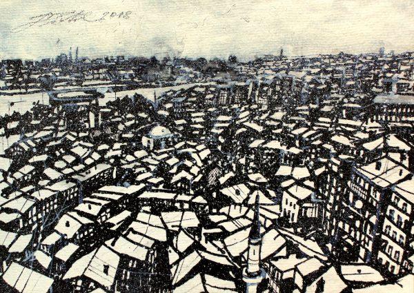 Türkei, Istanbul, Dachlandschaft im Winter (Nr. 18093)