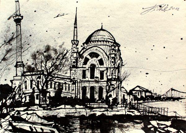 Türkei, Istanbul, Dolmabahçe Moschee am Bosporus (Nr. 18094)