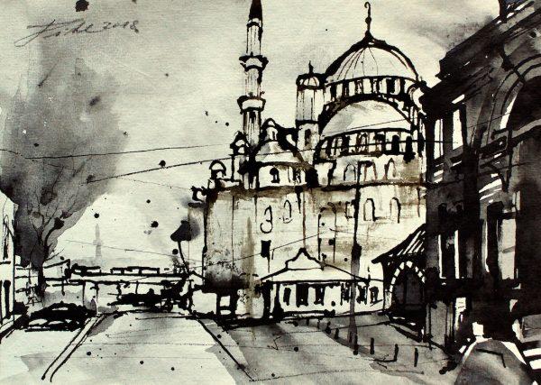 Türkei, Istanbul, Bankcilar Straße mit Jeni Cami Moschee (Nr. 18095)